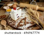the process cake in kitchen  ... | Shutterstock . vector #696967774