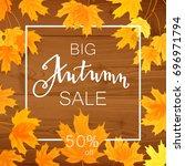 autumn sale banner  beautiful... | Shutterstock .eps vector #696971794