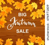 autumn sale banner  beautiful... | Shutterstock .eps vector #696971809