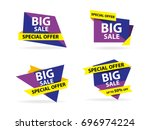 colorful shopping sale banner... | Shutterstock .eps vector #696974224