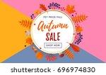 autumn sale text poster... | Shutterstock .eps vector #696974830