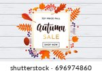 autumn sale poster or autumnal... | Shutterstock .eps vector #696974860