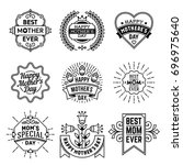 simple mono lines logos... | Shutterstock .eps vector #696975640