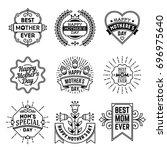 simple mono lines logos... | Shutterstock .eps vector #696975640