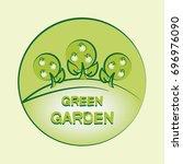green garden. logo. emblem.... | Shutterstock .eps vector #696976090