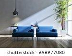 modern bright interiors. 3d... | Shutterstock . vector #696977080