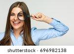 business woman holding...   Shutterstock . vector #696982138