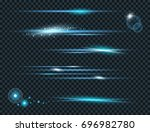 vector set of glow lightning... | Shutterstock .eps vector #696982780