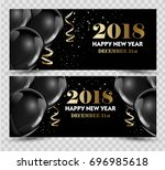 happy new year 2018 greeting... | Shutterstock .eps vector #696985618