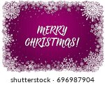 Pink Christmas Card With White...