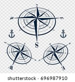 set of blue compass roses or... | Shutterstock .eps vector #696987910