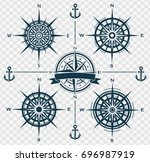 set of blue compass roses or...   Shutterstock .eps vector #696987919