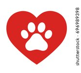 the dog's track in the heart | Shutterstock .eps vector #696989398