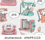 seamless pattern with image of... | Shutterstock .eps vector #696991123