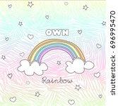 set of star  sky  rainbow ... | Shutterstock .eps vector #696995470