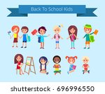 back to school kids isolated... | Shutterstock .eps vector #696996550