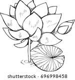 black and white lotus...   Shutterstock .eps vector #696998458