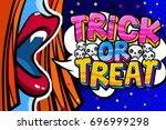 halloween illustration. open... | Shutterstock .eps vector #696999298