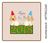 dog is a symbol of the 2018... | Shutterstock .eps vector #697001260