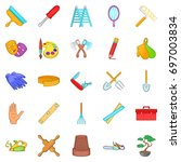 craftsman icons set. cartoon... | Shutterstock .eps vector #697003834