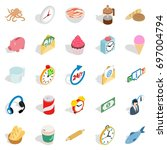 cure icons set. isometric set... | Shutterstock .eps vector #697004794