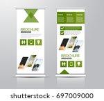 roll up vertical banner... | Shutterstock .eps vector #697009000