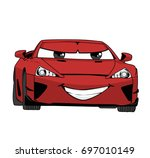vector cartoon car illustration.... | Shutterstock .eps vector #697010149