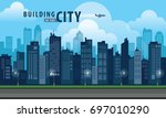 flat building in the city ... | Shutterstock .eps vector #697010290