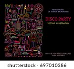 neon colors on a black... | Shutterstock .eps vector #697010386