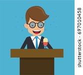 businessman in suit talking on... | Shutterstock .eps vector #697010458