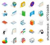 varsity icons set. isometric... | Shutterstock .eps vector #697016686