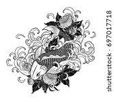 koi fish and chrysanthemum...   Shutterstock .eps vector #697017718