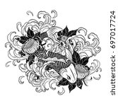 koi fish and chrysanthemum...   Shutterstock .eps vector #697017724