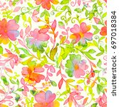 happy and bright floral... | Shutterstock . vector #697018384