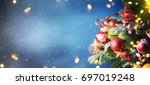 christmas snow background. | Shutterstock . vector #697019248