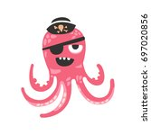 Cute Cartoon Pink Octopus...