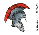 helmet of the roman legionnaire ... | Shutterstock .eps vector #697021483