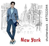 young man in new york  usa.... | Shutterstock .eps vector #697022044