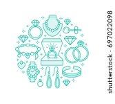 jewelry shop  diamond...   Shutterstock .eps vector #697022098