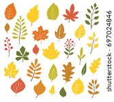 autumn leaves  big collection ... | Shutterstock .eps vector #697024846