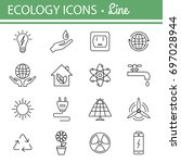 ecology and energy line icons.... | Shutterstock .eps vector #697028944