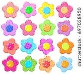 colorful sticker flower set | Shutterstock . vector #697028950