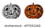 halloween pumpkin with ethnic... | Shutterstock .eps vector #697031260
