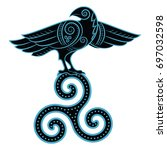 raven hand drawn in celtic...   Shutterstock .eps vector #697032598