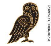 owl hand drawn in celtic style  ... | Shutterstock .eps vector #697032604