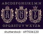 vintage initial logos kit. coat ... | Shutterstock .eps vector #697036120