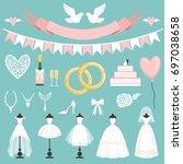 wedding symbols in cartoon... | Shutterstock .eps vector #697038658