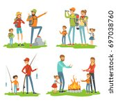 happy family hiking. travelling ... | Shutterstock .eps vector #697038760
