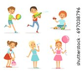 happy children playing with... | Shutterstock .eps vector #697038796