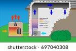 hvac diagram depicting both air ... | Shutterstock .eps vector #697040308